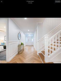 Hallway with stairs Hamptons style Hamptons Style Homes, Hamptons House, The Hamptons, Foyer Design, House Design, Hamptons Living Room, Camden House, Tiled Hallway, Foyer Decorating