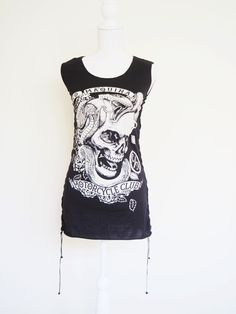 ➷DISMAYED➷Tattoo Skull Punk Lace Up Tank Dress, Suede, Gypsy, Rockabilly, GOTH