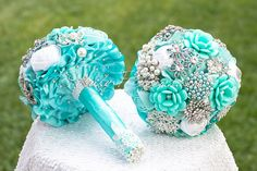 "Turquoise Aqua Wedding Brooch Bouquet. ""Sea Foam"" Turquoise Blue Bridal broach bouquet, Ruby Blooms"