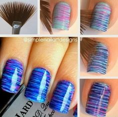 DIY Blue pink & purple nails...love this but i don't want to ruin my fan brushes!