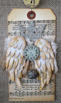 Crowning Wings tag tutorial at One Lucky Day. What do I like so much about old sheet music, wings and clock faces? Card Tags, Gift Tags, Atc Cards, Greeting Card, Christmas Tag, Christmas Crafts, Photo Halloween, Handmade Tags, Lucky Day