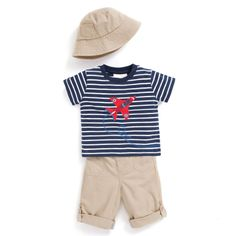 JoJo Maman Bebe - Plain and stripes spring outfit. #boys #childrenswear