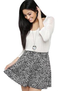 Deb Shops Leopard Print Skater Skirt $10.14
