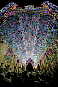 Cathedral made entirely of lights at the Luminaire De Cagna in Ghent Belgium
