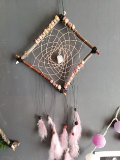 Dreamcatcher made from wood with rose quartz Dreamcatchers, Rose Quartz, Etsy Seller, Create, Wood, Handmade, Painting, Dream Catchers, Woodwind Instrument