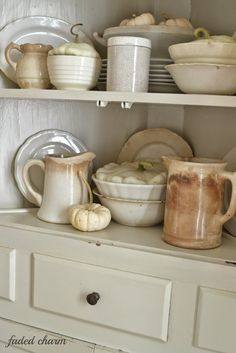 White ironstone mixed with pumpkins & gourds - Faded Charm