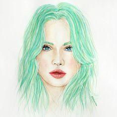 Painting of Sailor Neptune alias Michiru Kaioh. Girl with green hair