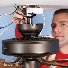 How to Install a Ceiling Fan Remote.Old ceiling fans may have inconvenient pull chains, make noise or need repairs. One easy fix is to install a ceiling fan remote control. You may also need to replace broken parts. Ceiling Fan Wiring, Ceiling Fan Installation, Ceiling Fan With Remote, Ceiling Fans, Handyman Projects, Diy Projects, Energy Projects, House Projects, Home Fix