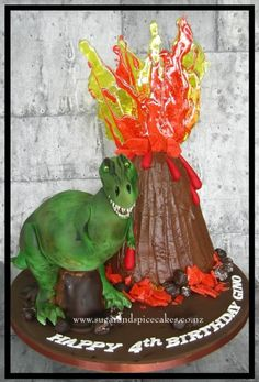 T-Rex Tyrone & erupting Volcano - Cake by Mel_SugarandSpiceCakes