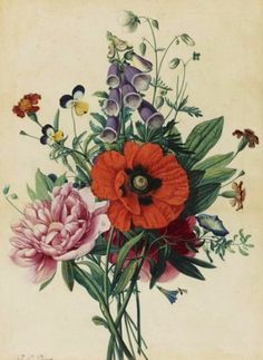 stilllifequickheart:  Jean-Louis Prevost  Bouquet of Flowers  1810