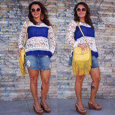 Look boho, saia jeans, franjas, blusa azul, casual look