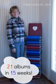 Pinner said: 'I completed 21 scrapbooks in 15 weeks! Scrapbook Organization, Craft Organization, Organizing Ideas, Scrapbook Cards, Scrapbooking Layouts, Scrapbook Supplies, Kids Craft Box, Craft Ideas, Old Greeting Cards