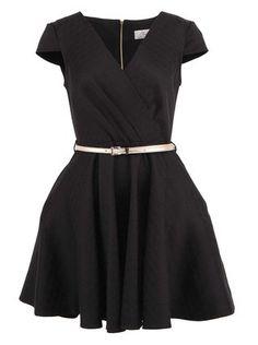 Closet - Černé šaty se zlatým páskem - 1
