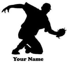 Baseball Player Baseman Vinyl Decal  - Name Customizable Decal