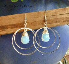 Silver hoops and opalite earrings. McKee Jewelry Designs #jewelry #earrings #hoops #sterlingsilver