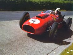 Luigi Musso in a Lancia Ferrari at the 1956 Nurburgring. Musso was engaged in an intense rivalry with other Ferrari team drivers, Mike Hawthorn and Peter Collins, and Musso's death played an important part in Carroll Shelby's racing decision. Ferrari F1, Ferrari Dino 246, Ferrari Scuderia, Ferrari Racing, Sports Car Racing, F1 Racing, Race Cars, Gt Cars, Grand Prix