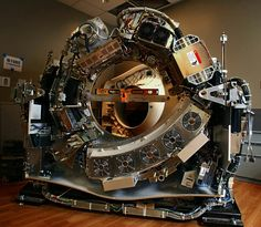 This is what a CT scanner looks like without the cover.