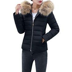 b0793b23b10 Kimloog Women's Short Down Coats Cotton Faux Fur Collar Hooded Parka Winter  Warm Slim Jacket (