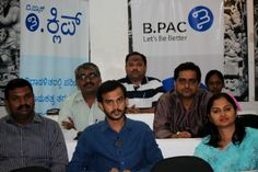 Anand Begur (C) and Ravi Kumar (L, second row) sit with other students of the nine-month long Civic Leadership Program organized by the Bangalore Political Action Committee, a non-governmental organization, at Bhartiya Vidhay Bhavan, Race Course Road, Bangalore on Dec. 7, 2013. The students come from all walks of life and aspire to make a grassroots change in democratic governance. (Venus Upadhayaya/Epoch Times)