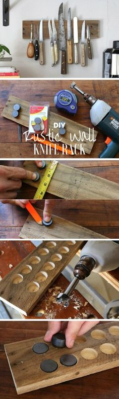 Check out the tutorial: #DIY Rustic Wall Knife Rack @istandarddesign