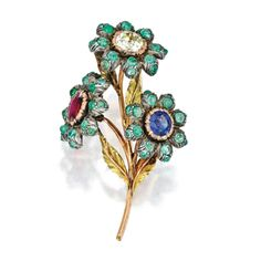 18 Karat Two-Color Gold, Silver, Diamond, Ruby, Sapphire and Emerald Brooch, Buccellati | lot | Sotheby's