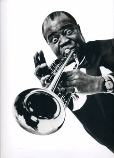 The American trumpeter, singer, composer and conductor Louis Armstrong. New York City, Halsman's studio. 15th April 1966! (Photo by Philippe Halsman)