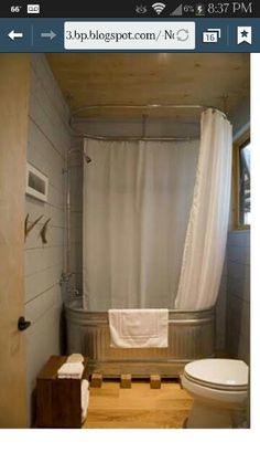 Horse Trough Bath idea~ I love this bathtub with overhead shower made from a horse trough. What a great economical idea for a rustic bathroom in a vacation home, beach house or cabin. You can also use the house troughs as planters outside! Horse Trough Bathtub, Metal Stock Tank, Water Trough, Feed Trough, Galvanized Tub, Bathtub Shower, Bath Tub, Bath Room, Tin Shower Walls