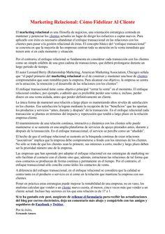 Marketing Relacional: Cómo Fidelizar Al Cliente by Fernando Amaro via Slideshare