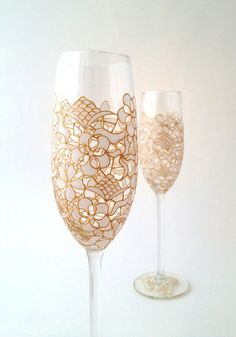 Toasted Glass - Lace champagne flute