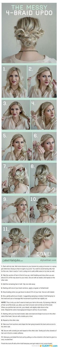 DIY Hair Tutorials Step by Step Guides - 4 Braid Up Do