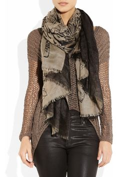 Horiyoshi the Third- Botan Peoney silk and cashmere-gauze scarf