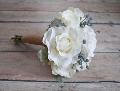 White Rose Wedding Bouquet with Silver Brunia and Dusty Miller by Kate Said Yes Weddings, www.katesaidyes.etsy.com