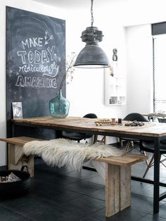 wood and steel table bench seating