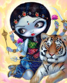 """Durga and the Tiger"" - from 2011, I love Hindu art, visited India with family recently. Acrylic. prints at Strangeling.com and Pop Gallery at Downtown Disney #durga #goddess #hindu #india #tiger #lotus #cat #indian #hinduism #art #painting #bigeyeart #bigeyes #jasminebecketgriffith #strangeling #popsurrealism #pop #surreal #acrylic #acrylics #popgallery #popgallery #popgalleryfl #popgalleryorlando #dtd #downtowndisney #wdw #disneyworld"