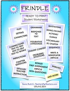 Frindle! 87 page packet of ready to print student worksheets. Aligned with the Common Core. Extra bonus article about the Bill of Rights and freedom of speech and freedom of the press with questions and answers. A great way to integrate ELA with social studies!