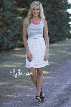 Stay Neutral Lace Belted Dress | This is the perfect short dress to wear to a wedding or as a summer outfit!