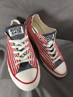 fc7a074f1b46f9 CONVERSE All Star Red White Blue American Flag Shoes Sneakers Unisex M 7.5  W 9.5