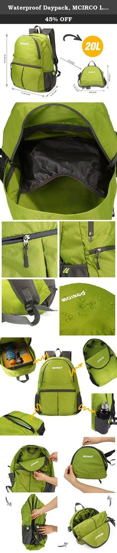 Waterproof Daypack, MCIRCO Lightweight Hiking Backpack 20L Water Repellent Backpack Foldable to a Single Shoulder Bag Outdoor Backpack Hiking Backpack Biking Backpack Climbing Backpack (Green). About us MCIRCO is a professional office, home and outdoor product supplier, focusing on supplying all kinds of quality, stylish and attractive items to help improving customers' high quality life. Our mission is to improve customers' on-line shopping experience. Feature: This is a great backpack…