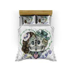 Skull Bedding Sugar Skull  Duvet Cover Set Skull by FolkandFunky