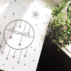 Monthly bullet journal cover page, December cover page, Christmas drawing, Winter drawings, Winter bullet journal theme. @kaitlin.armstrong