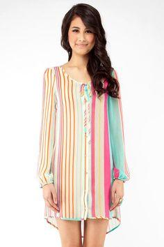 Button Down Striped Chiffon Dress