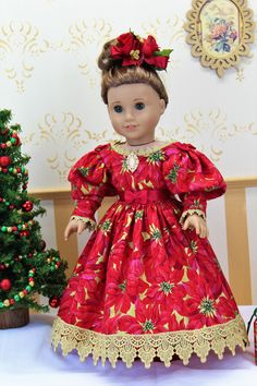 Sewing Doll Clothes, Sewing Dolls, Diy Clothes, American Girl Dress, American Doll Clothes, Doll Dresses, Girls Dresses, New Dolls, Holiday Dresses