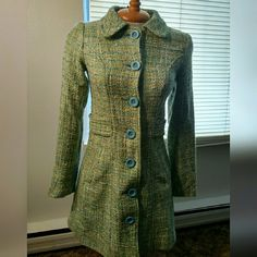Divided by H&M Tweed Coat Mostly light green and blue coloring. Side pockets  Adorable classic chic. Comes with extra button if ever needed. Divided Jackets & Coats