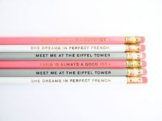 The Paris Collection Pencils - Pastel Pink, Grey, & White, set of 6 by ACDShop on Etsy https://www.etsy.com/listing/124222602/the-paris-collection-pencils-pastel-pink