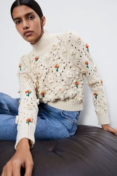 High neck sweater with long sleeves, floral appliqués in matching fabric and ribbed trims. HEIGHT OF MODEL: 177 cm. Black And White Outfit, Wardrobe Sets, Winter Mode, Sweater Set, Floral Sweater, Knit Vest, Knit Fashion, Look Cool, Sweater Weather