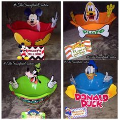 Set of 4 Mickey Mouse Clubhouse Party Character Snack Bowls: Mickey Mouse, Pluto, goofy, and Donald Duck