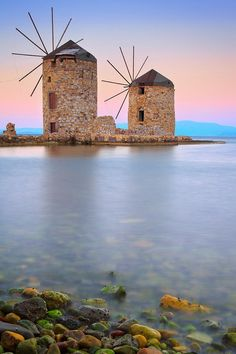 Windmills, Chios, Greece by Emmanuel Panagiotakis. Chios is the fifth largest of the Greek islands, situated in the Aegean Sea, 7 kilometres off the Anatolian coast. The island is separated from Turkey by the Chios Strait. Chios is notable for its exports of mastic gum and its nickname is The mastic island. Tourist attractions include its medieval villages and the 11th-century monastery of Nea Moni, a UNESCO World Heritage Site.