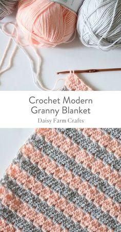 Free Pattern - Crochet Modern Granny Blanket #crochet #modern #babyblanket