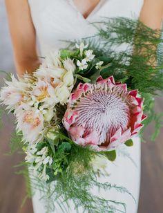 King protea + blushing bride protea bouquet