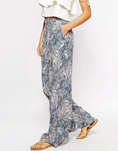 Image 4 ofNew Look Paisley Printed Wide Leg Trousers